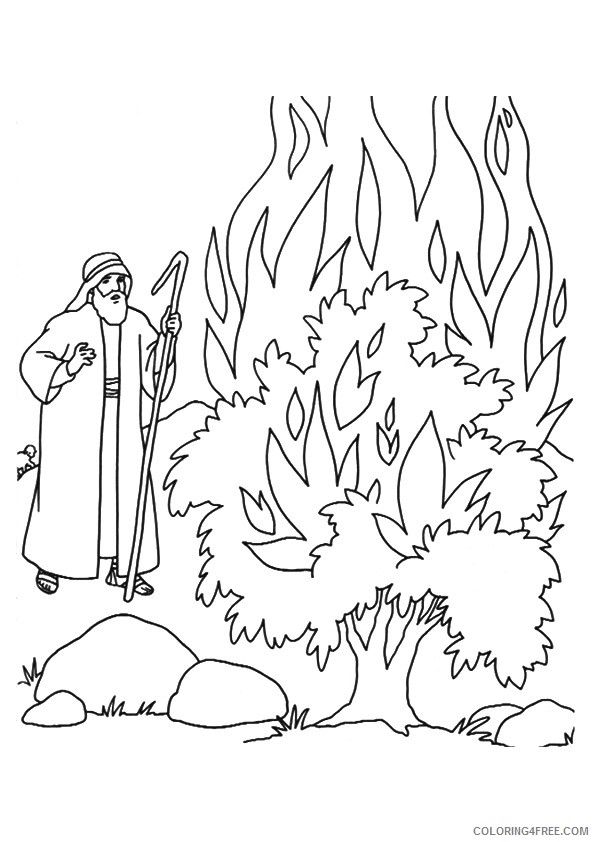 moses coloring pages and the burning bush Coloring4free