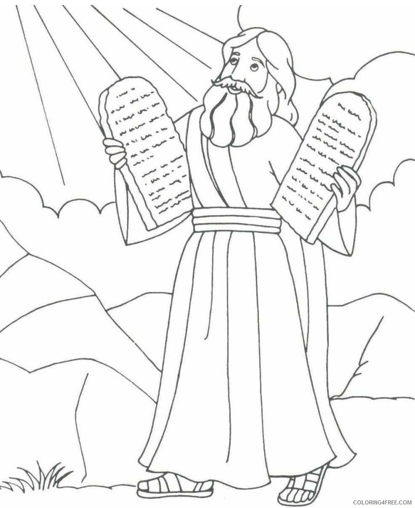 moses coloring pages and the ten commandments Coloring4free
