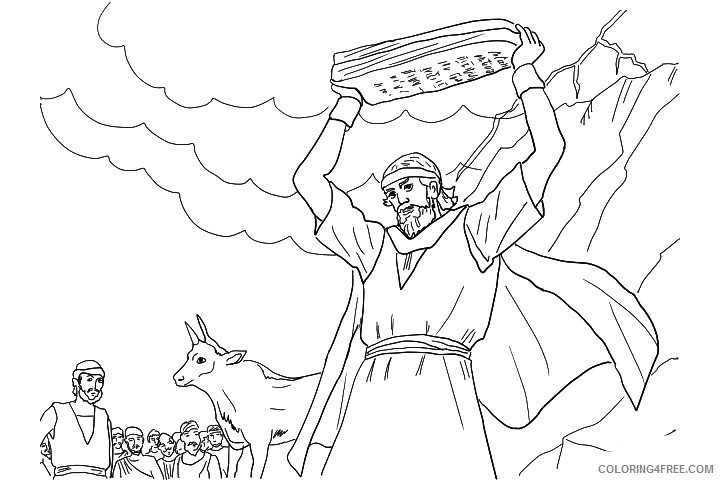 moses coloring pages receiving ten commandments Coloring4free