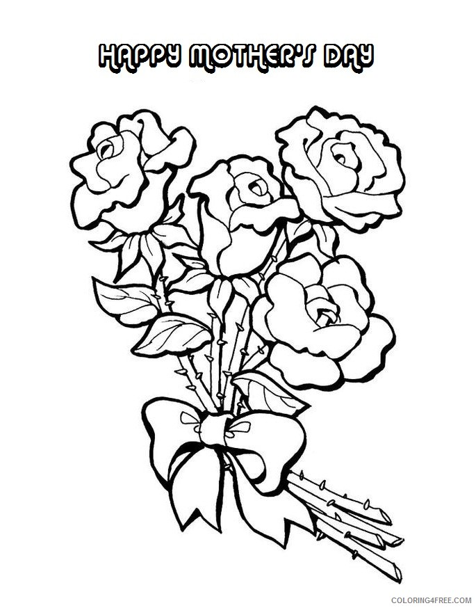 mothers day coloring pages roses Coloring4free