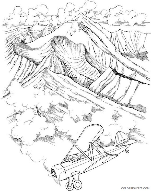 mountais landscape coloring pages Coloring4free
