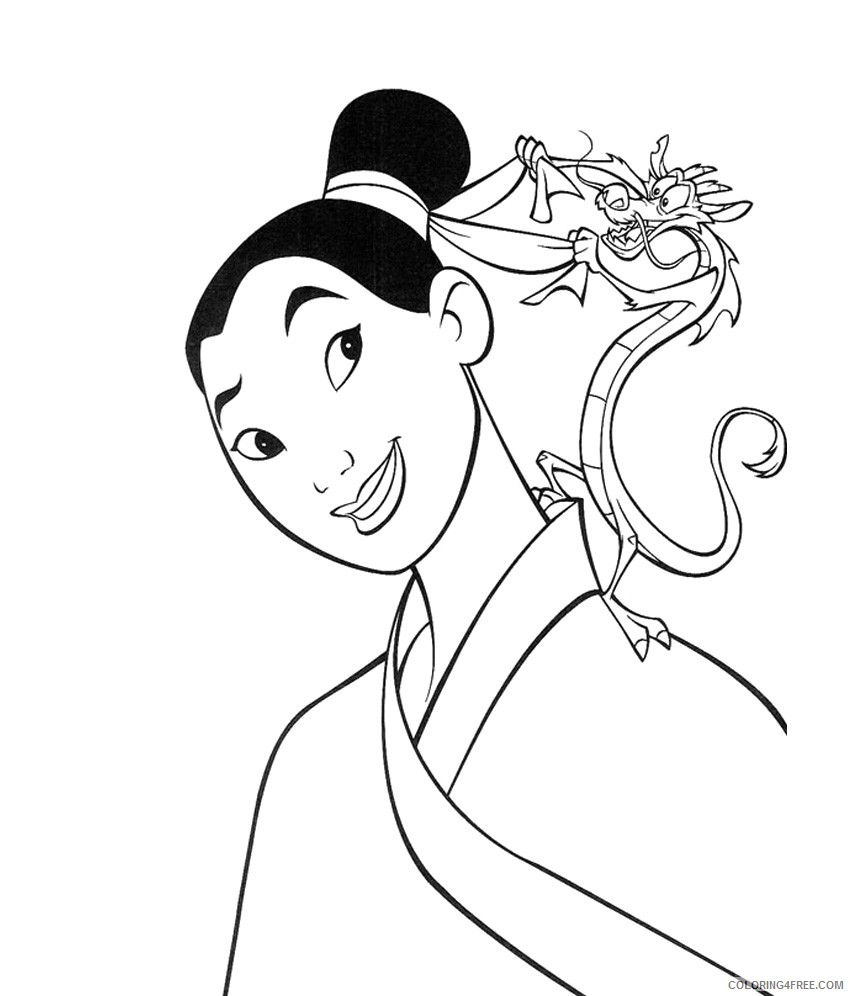 mulan and mushu coloring pages Coloring4free