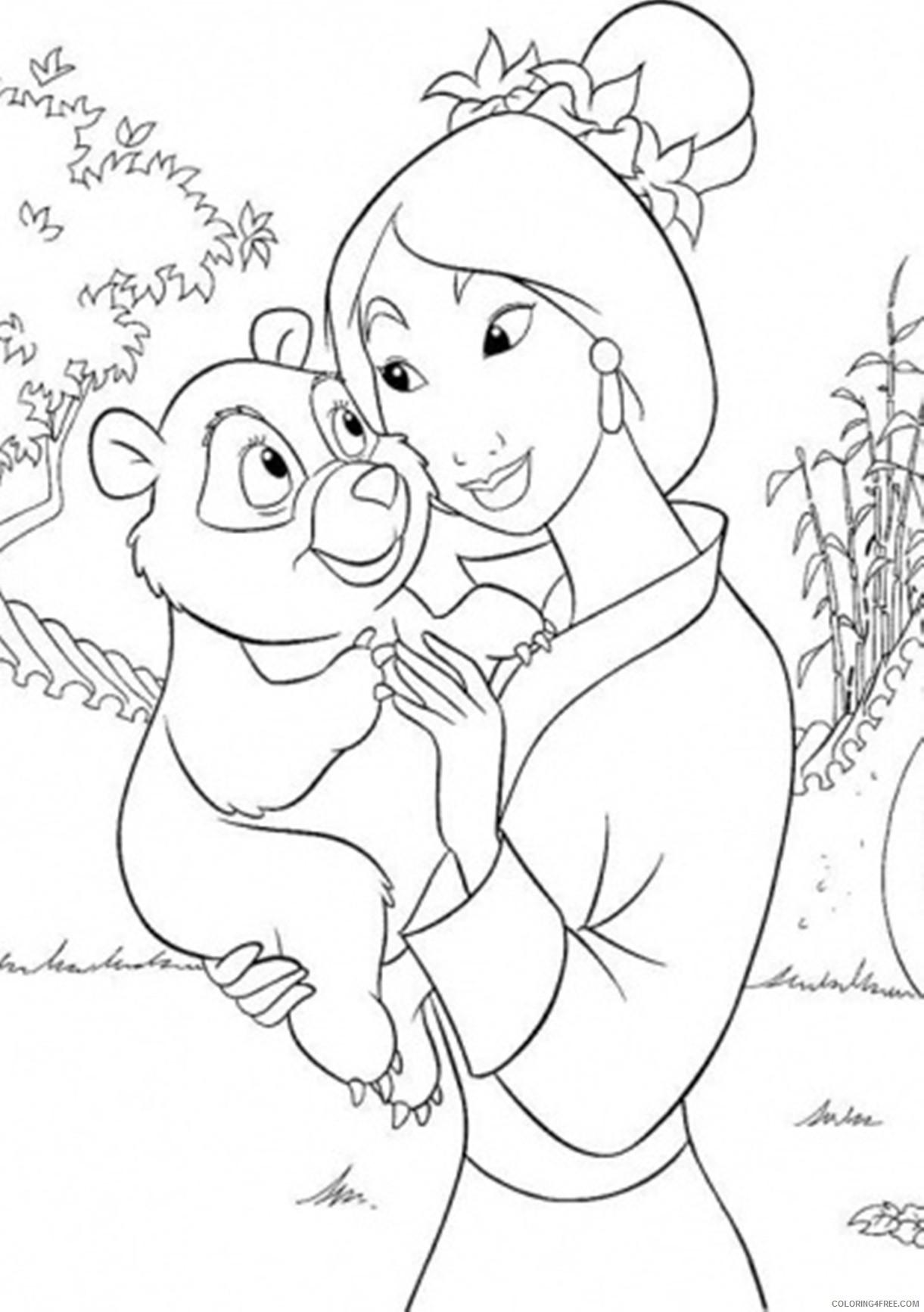 mulan coloring pages and panda Coloring4free