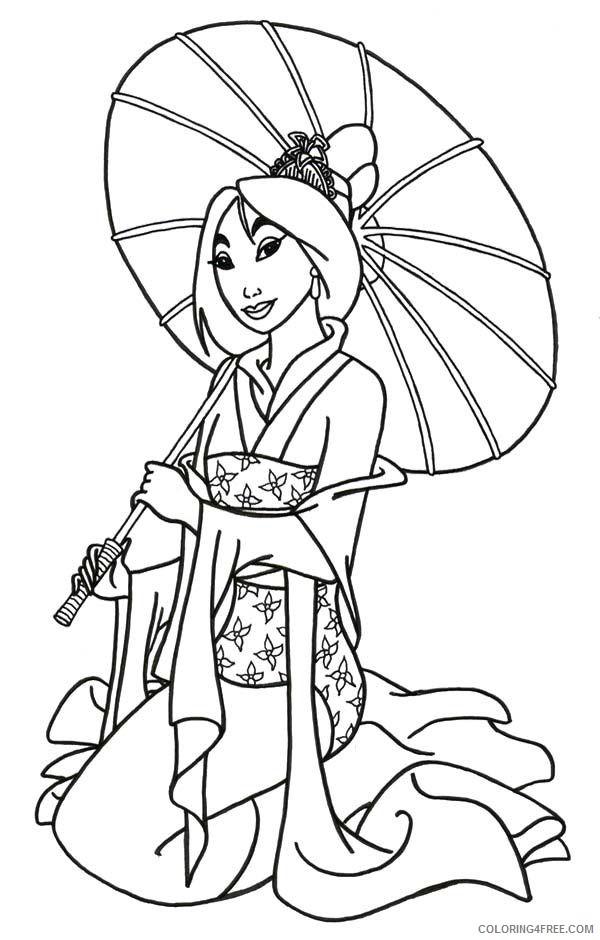 mulan coloring pages holding umbrella Coloring4free