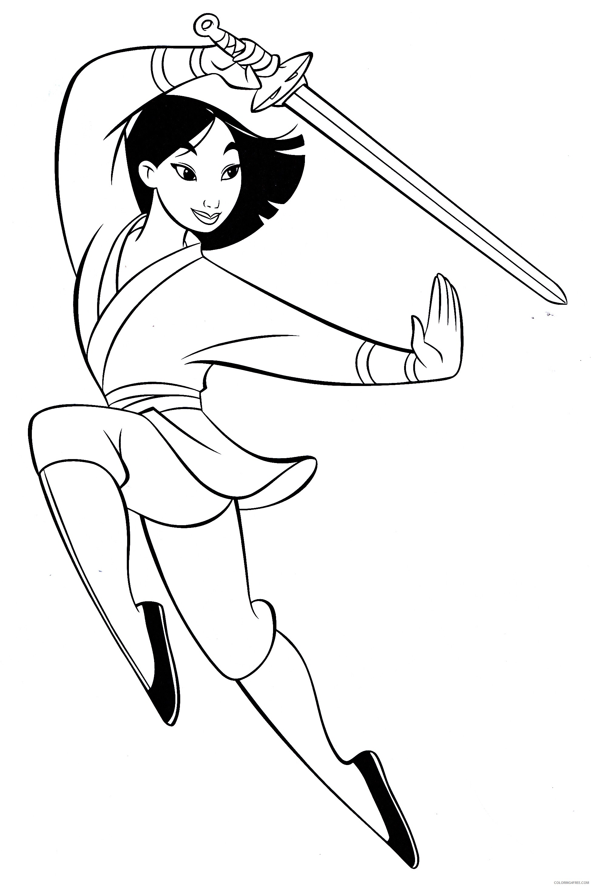 mulan coloring pages practicing sword Coloring4free
