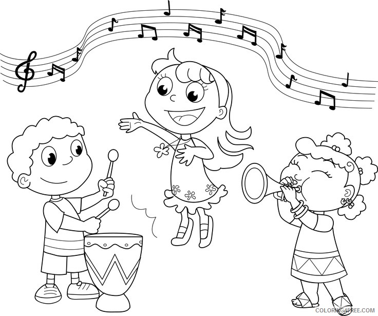 music coloring pages kids playing music Coloring4free