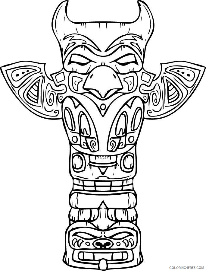 native american coloring pages totem pole Coloring4free