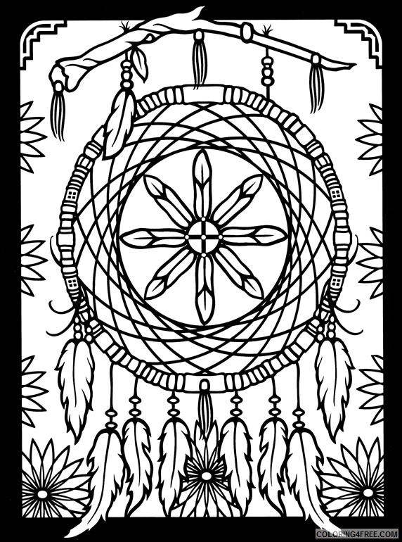 native american dreamcatcher coloring pages Coloring4free