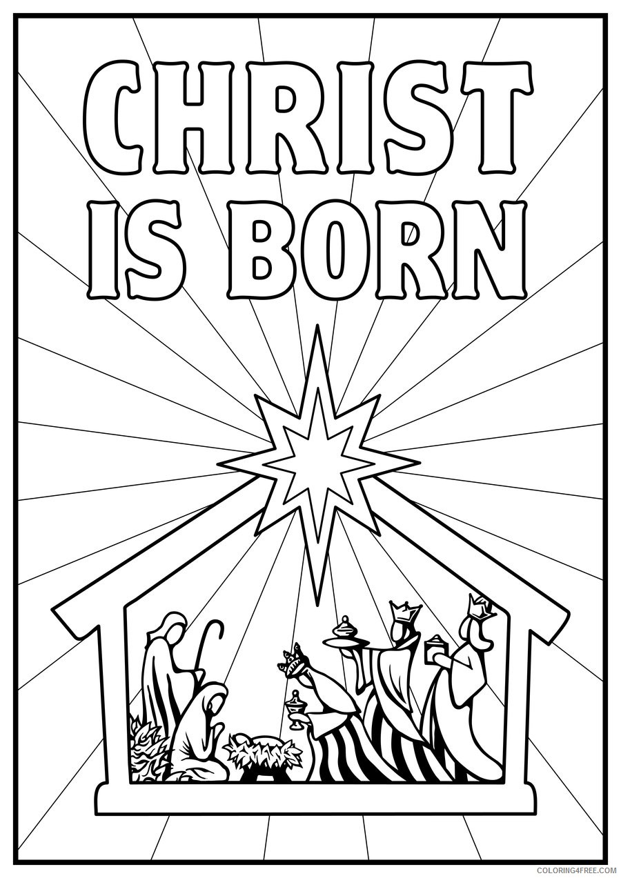nativity coloring pages born of jesus Coloring4free