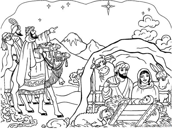 nativity coloring pages free to print Coloring4free
