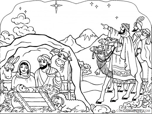 nativity coloring pages jesus and goat Coloring4free