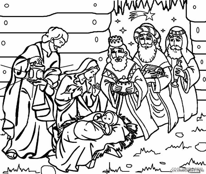 nativity coloring pages printable free Coloring4free