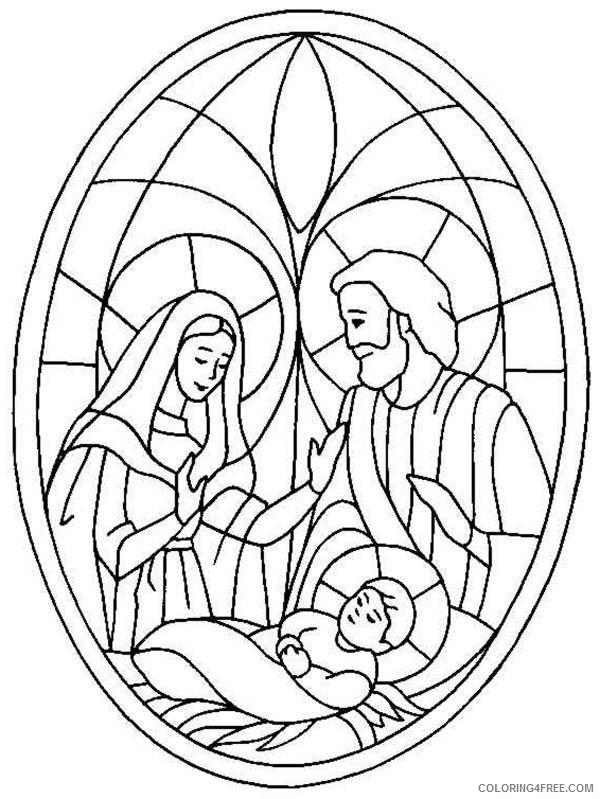 nativity coloring pages stained glass Coloring4free