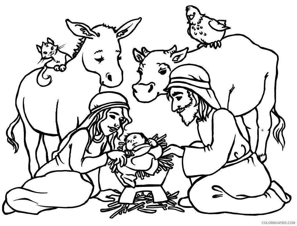 nativity scene coloring pages Coloring4free