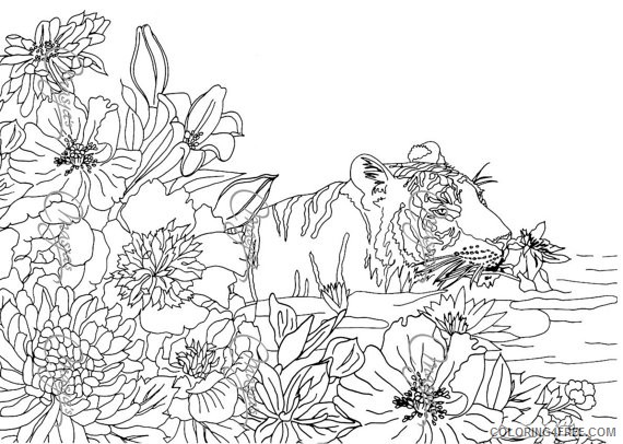 nature coloring pages flowers and tiger Coloring4free