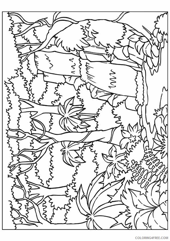 nature coloring pages forest waterfall Coloring4free