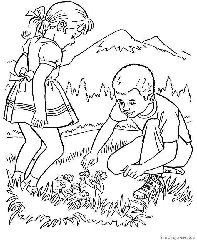 nature coloring pages kids in nature Coloring4free
