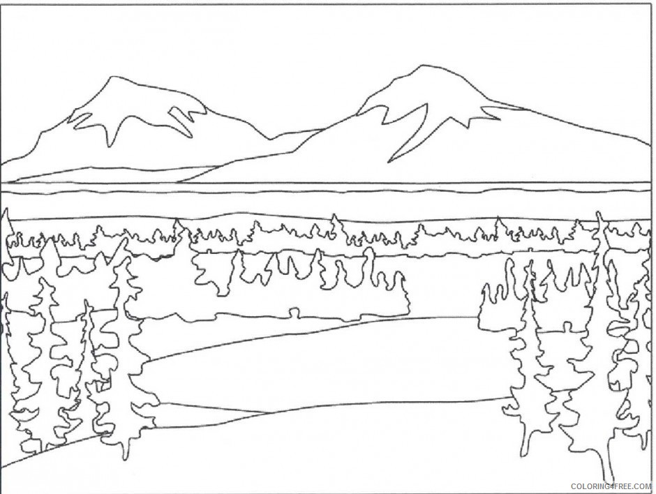 nature coloring pages mountain landscape Coloring4free