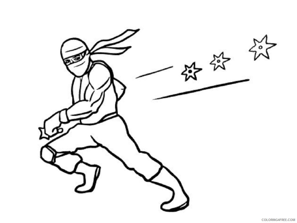 ninja coloring pages throwing stars Coloring4free