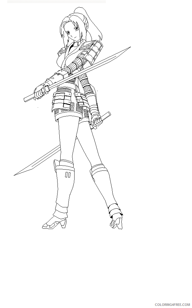 ninja girl coloring pages for adults Coloring4free