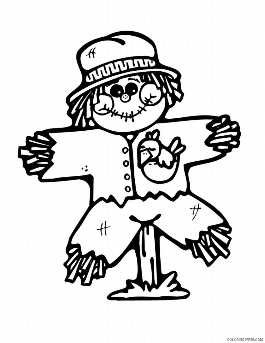 november coloring pages cute scarecrow Coloring4free