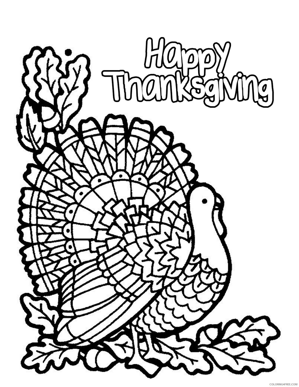november coloring pages happy thanksgiving Coloring4free
