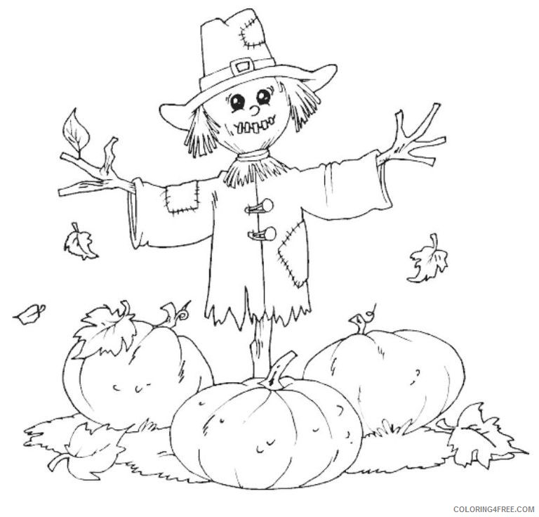 november coloring pages scarecrow and pumpkins Coloring4free