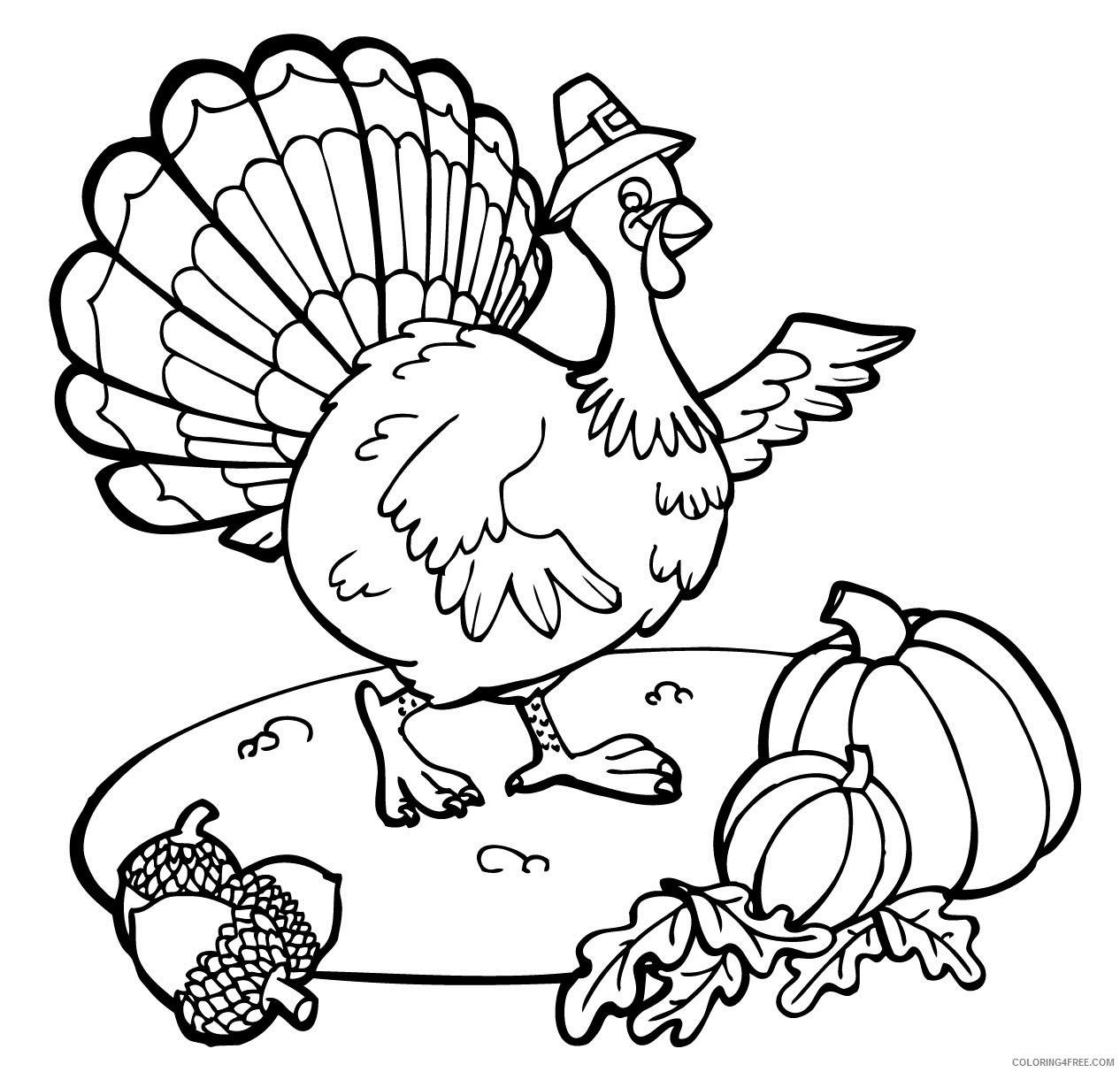 november coloring pages turkey acorn pumpkin Coloring4free