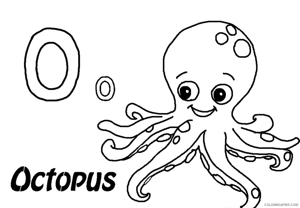 octopus coloring pages o for octopus Coloring4free