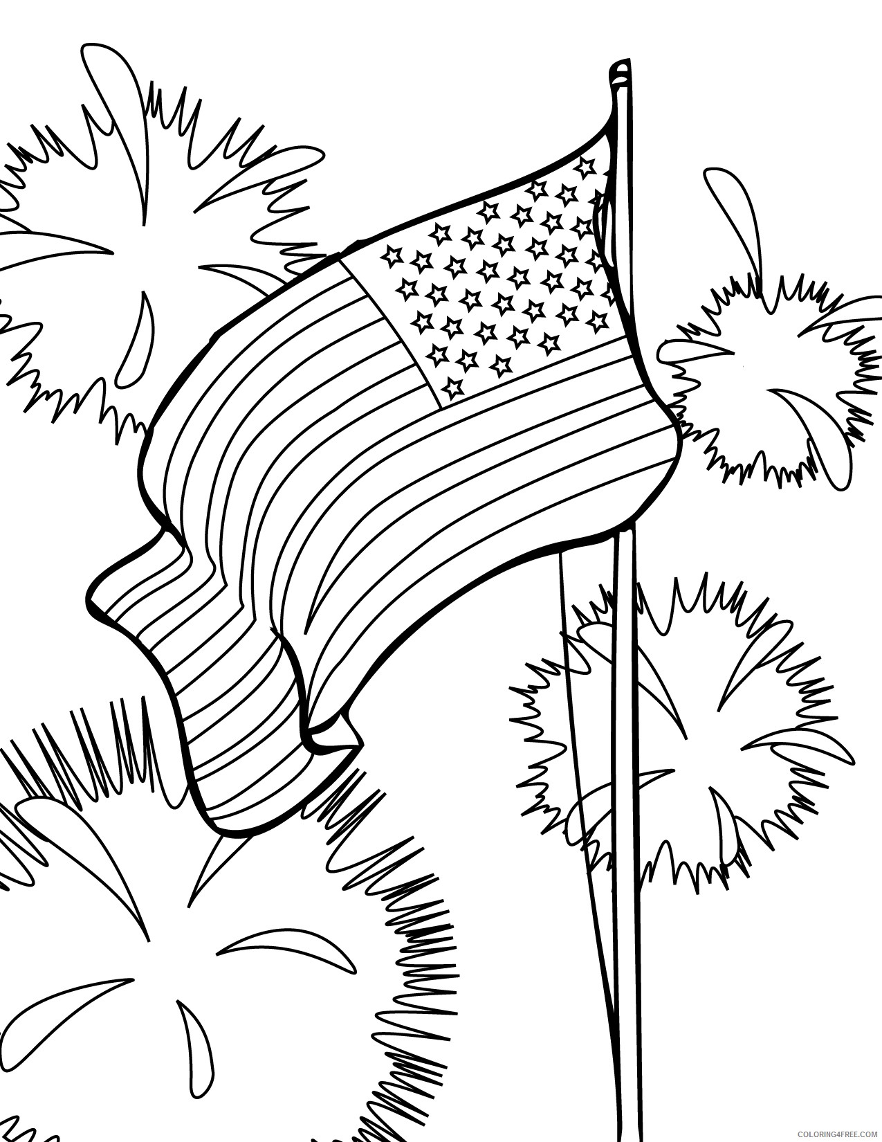 patriotic coloring pages american flag fireworks Coloring4free