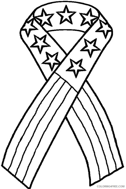 patriotic coloring pages american flag ribbon Coloring4free