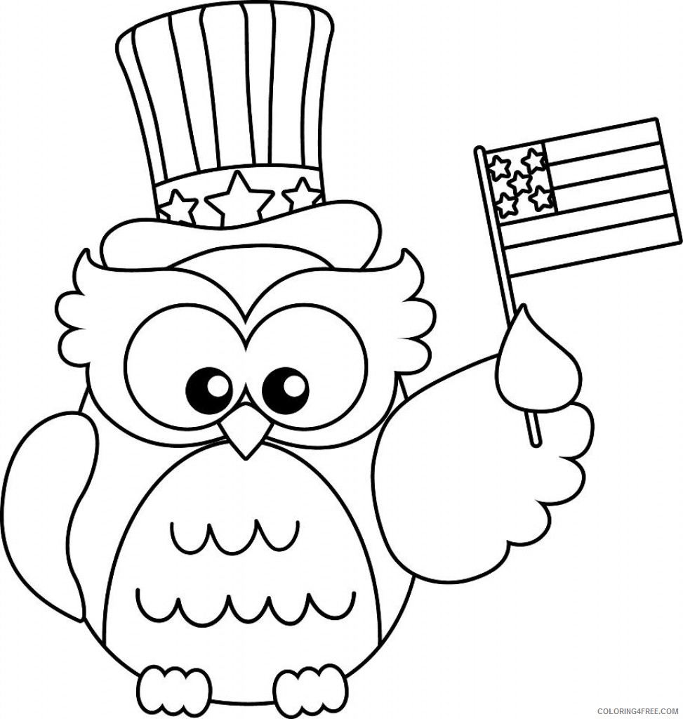 patriotic coloring pages cute owl Coloring4free