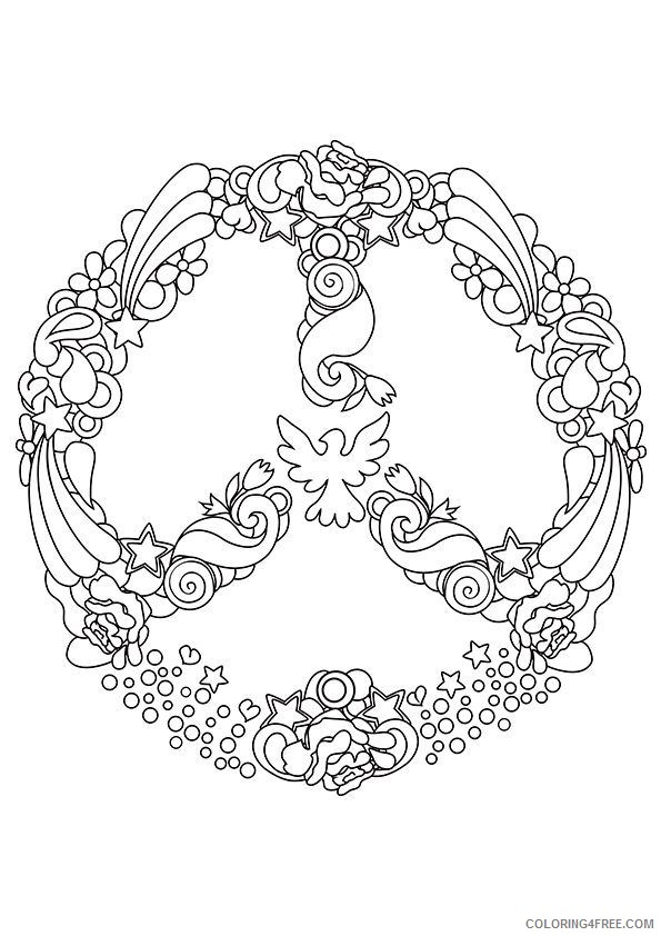 peace sign coloring pages for adults Coloring4free