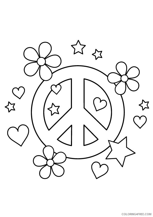 peace sign coloring pages hearts flowers stars Coloring4free