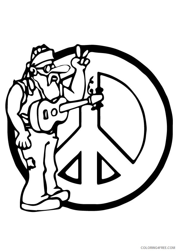 peace sign coloring pages music Coloring4free