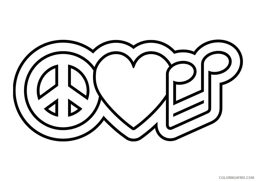 peace sign coloring pages peace heart music Coloring4free