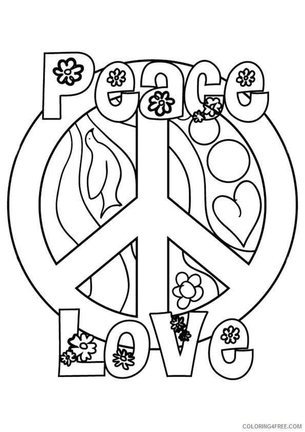 peace sign coloring pages peace love Coloring4free