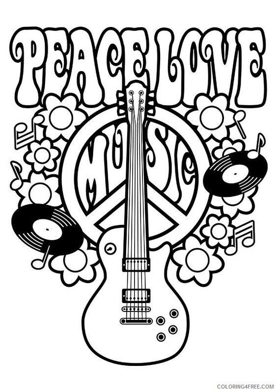 peace sign coloring pages peace love music Coloring4free