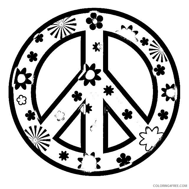 peace sign coloring pages to print Coloring4free