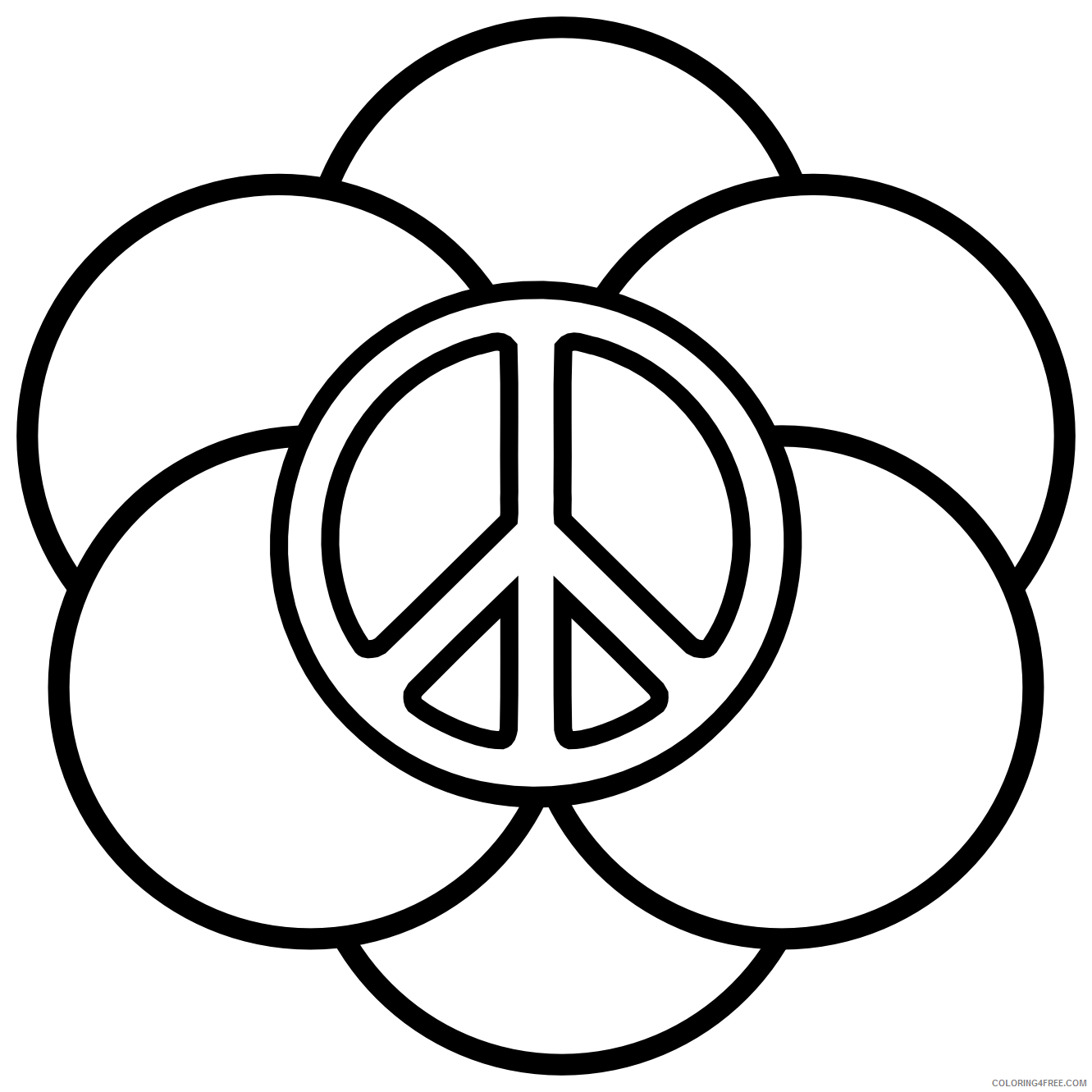 peace sign coloring pages with circles Coloring4free