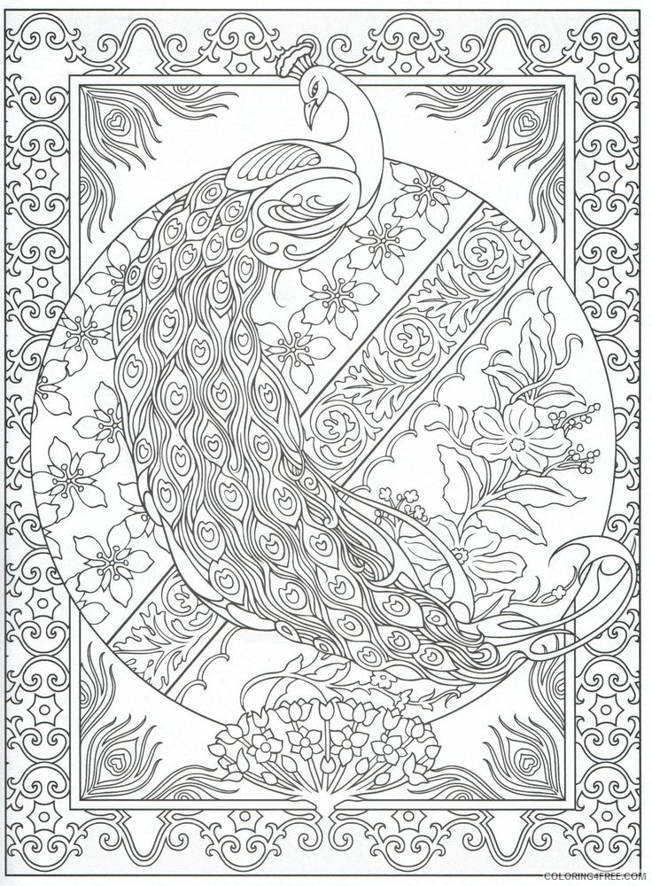 peacock coloring pages printable for adults Coloring4free
