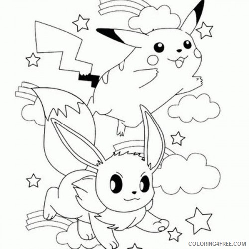 pikachu coloring pages and eevee Coloring4free