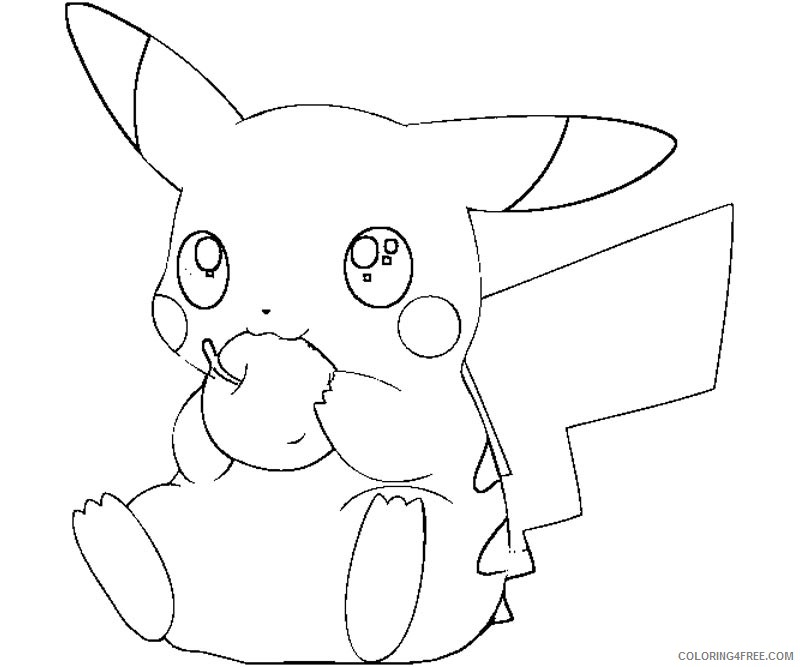 pikachu coloring pages eating apple Coloring4free
