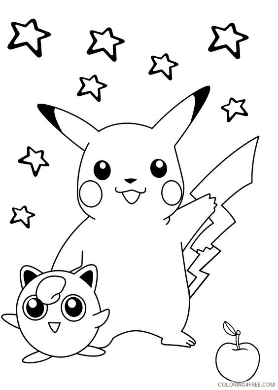 pikachu coloring pages jigglypuff apple stars Coloring4free