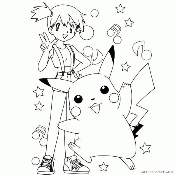 pikachu coloring pages with misty Coloring4free