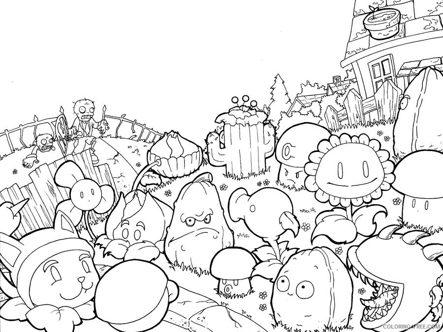 plants vs zombies coloring pages printable Coloring4free