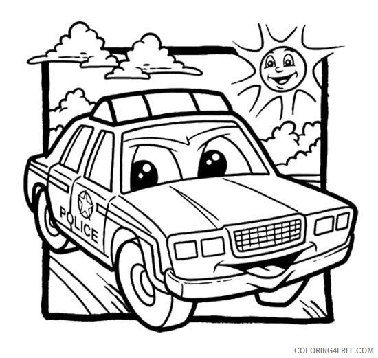 police car coloring pages cartoon Coloring4free