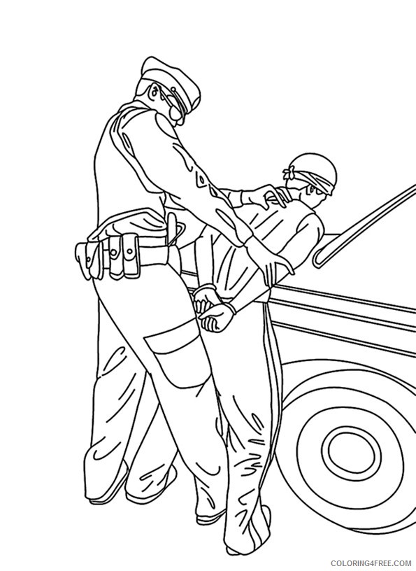 police coloring pages arresting criminal Coloring4free
