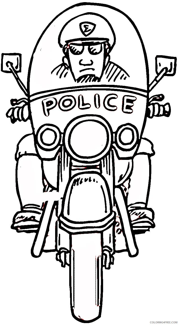 police coloring pages riding motorcycle Coloring4free