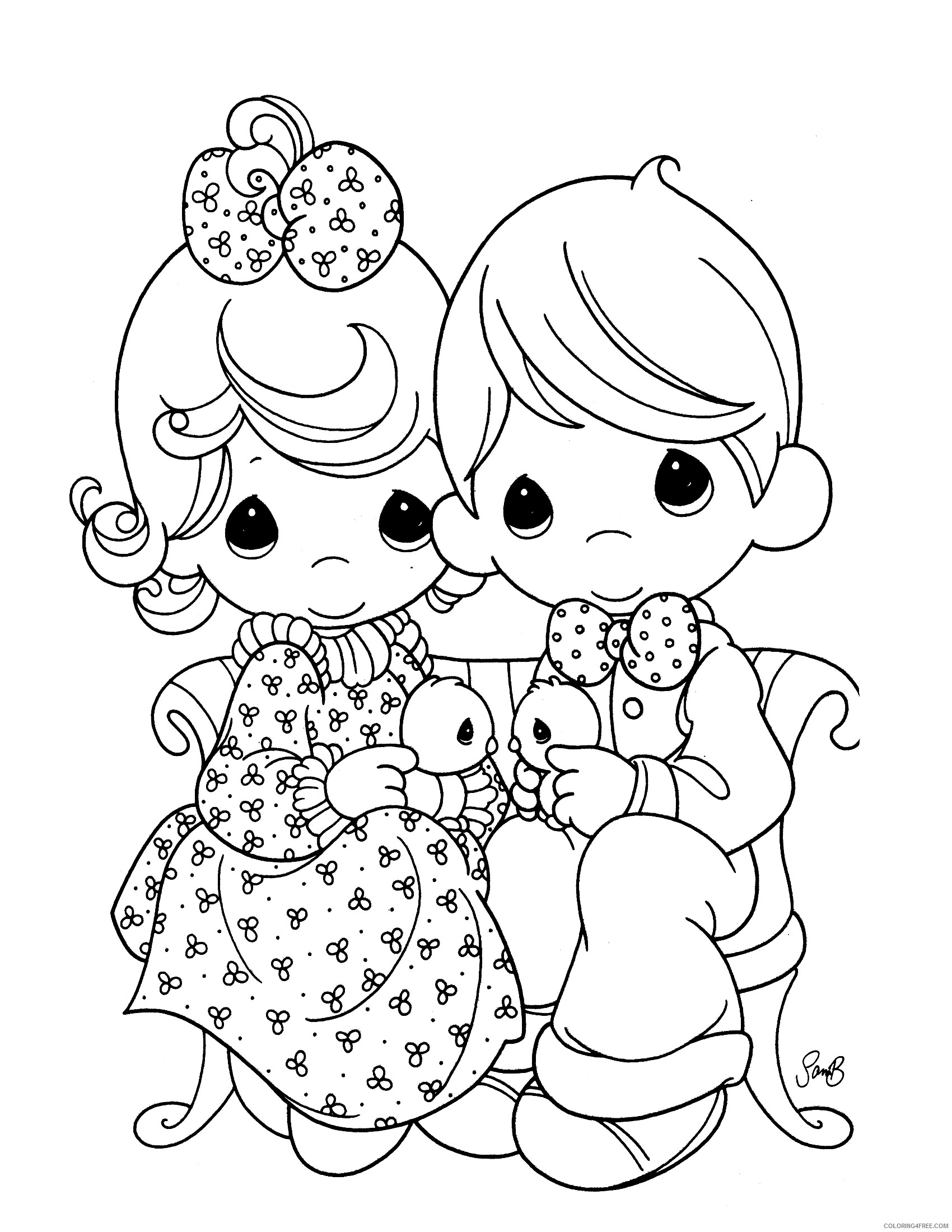 precious moments coloring pages couple Coloring4free